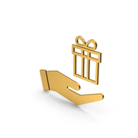 Symbol Hand Holding Gift Gold PNG & PSD Images