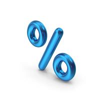 Percentage Symbol Blue Metallic PNG & PSD Images