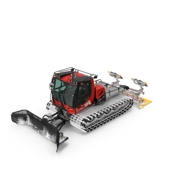 Snowy PistenBully 100 Snowcat with Snowplow PNG & PSD Images