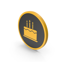 Icon Birthday Cake Yellow PNG & PSD Images