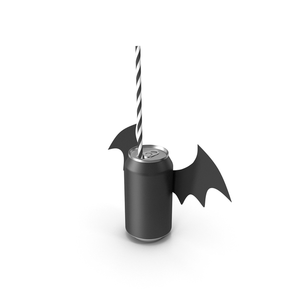 Halloween Bat Decor for Black Soda Can with Drinking Straw PNG & PSD Images