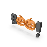 Halloween Sign Boo! with Pumpkins PNG & PSD Images