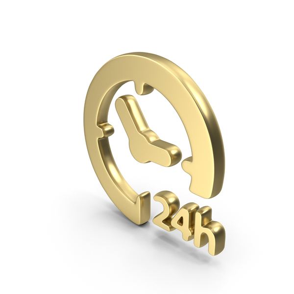 Logo Clock Time 24H Gold PNG & PSD Images