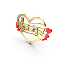 Clef Music Note Heart Gold PNG & PSD Images