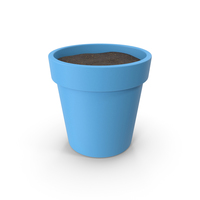 Plant Pot With Soil Blue PNG & PSD Images
