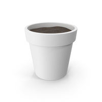 Plant Pot With Soil White PNG & PSD Images