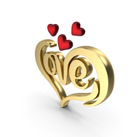 Heart Love Shape Gold PNG & PSD Images