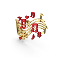 Music Notes Wave Gold PNG & PSD Images