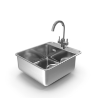 Stainless Steel Inset Sink with Angular Tap PNG & PSD Images