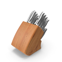 Stainless Steel Knife Wooden Block Set PNG & PSD Images