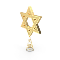 Star of David Tree Topper Gold PNG & PSD Images