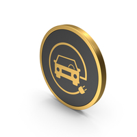Gold Icon Electric Vehicle Charging PNG & PSD Images