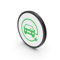 Icon Electric Vehicle Charging Green PNG & PSD Images