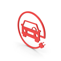 Symbol Electric Vehicle Charging Red PNG & PSD Images