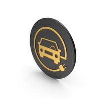 Electric Vehicle Charging Gold Icon PNG & PSD Images