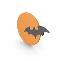 Halloween Orange Moon with Bat Symbol PNG & PSD Images