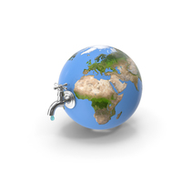 Stylized Earth with Faucet PNG & PSD Images