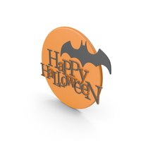 Happy Halloween Symbol with Orange Moon and Batman PNG & PSD Images