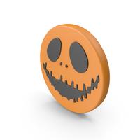Halloween Pumpkin Face Symbol with Orange Moon PNG & PSD Images