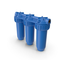 Three Stages Water Filter Housing Blue PNG & PSD Images