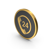 Gold Icon 24 Hours Phone Service PNG & PSD Images