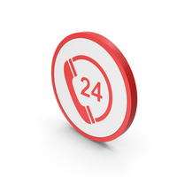 Icon 24 Hours Phone Service Red PNG & PSD Images