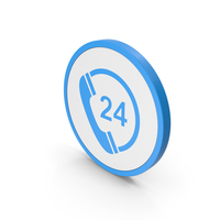 Icon 24 Hours Phone Service Blue PNG & PSD Images