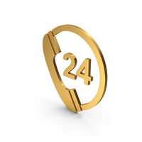 Symbol 24 Hours Phone Service Gold PNG & PSD Images