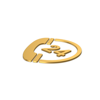 Gold Symbol 24 Hours Phone Service PNG & PSD Images