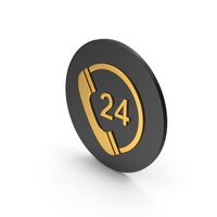 24 Hours Phone Service Gold Icon PNG & PSD Images