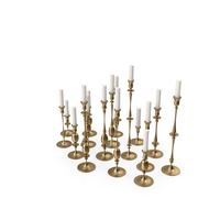 Gold Candlesticks Set with Candle PNG & PSD Images