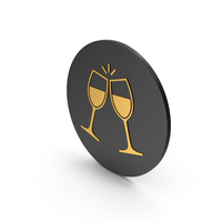 Clinking Glasses Gold Icon PNG & PSD Images