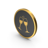 Gold Icon Clinking Glasses PNG & PSD Images