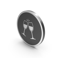 Silver Icon Clinking Glasses PNG & PSD Images