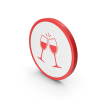 Icon Clinking Glasses Red PNG & PSD Images