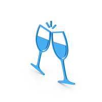 Symbol Clinking Glasses Blue PNG & PSD Images