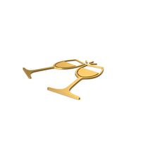 Gold Symbol Clinking Glasses PNG & PSD Images