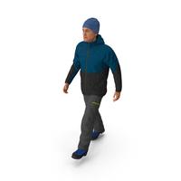Winter Men Sportswear Walking Pose PNG & PSD Images