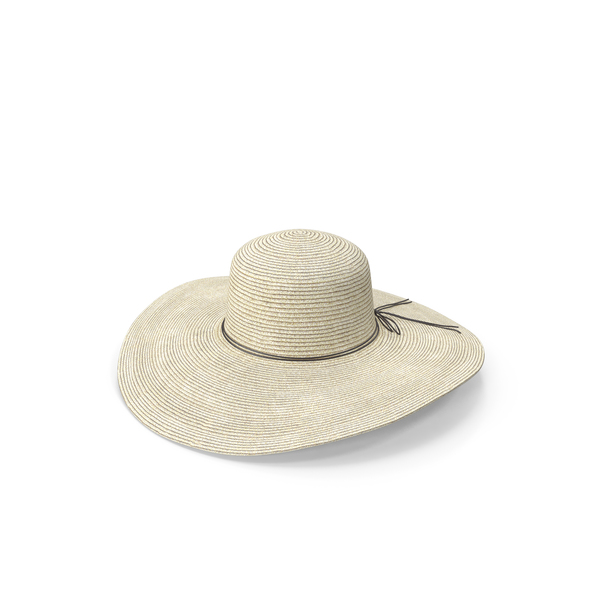 Women Sun Protecting Large Brim Straw Hat PNG & PSD Images