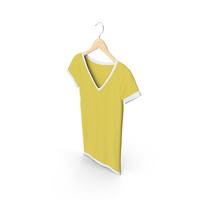 Female V Neck Hanging White And Yellow PNG & PSD Images