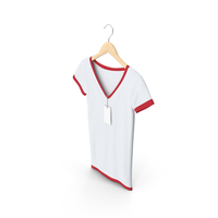 Female V Neck Hanging With Tag White And Red PNG & PSD Images