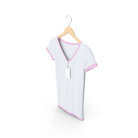 Female V Neck Hanging With Tag White And Pink PNG & PSD Images