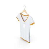 Female V Neck Hanging With Tag White And Orange PNG & PSD Images