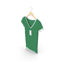 Female V Neck Hanging With Tag White And Green PNG & PSD Images