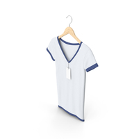 Female V Neck Hanging With Tag White And Dark Blue PNG & PSD Images
