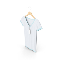 Female V Neck Hanging With Tag White And Blue PNG & PSD Images