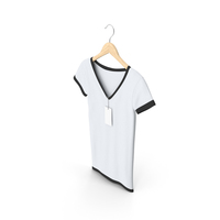Female V Neck Hanging With Tag White And Black PNG & PSD Images