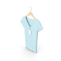 Female V Neck Hanging With Tag Blue PNG & PSD Images