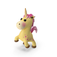 Yellow Cartoon Unicorn Jumping Pose PNG & PSD Images