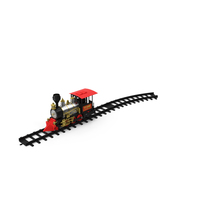 Toy Train Locomotive with Rails PNG & PSD Images